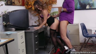 Office girl gets fucked on a desk
