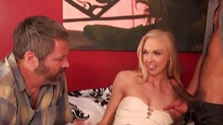 Sexy Blonde Wife and Cuckold Husband Share a BBC