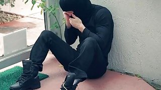 Teen Mekeena forced to bang burglar long cock