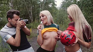 Blonde babes love football and sex