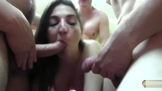 Jimena Gang Bang with cum eating