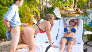 Anna Bell Peaks and Cory Chase having 3-way fuck during a vacation