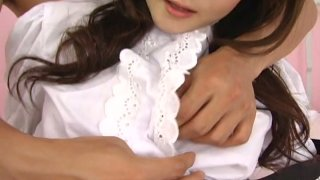Whorish maid Fuwari is fucked on a master's bed