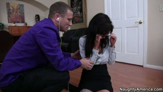 Damned wretch Diana Prince gives a blowjob to an office cleaner