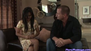 Handsome dude with sexy firm body gets pleased by Lana Violet in a spa parlour